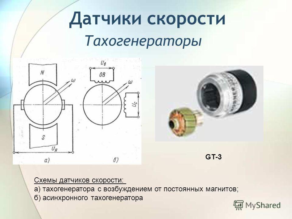 Датчики скорости Тахогенераторы GT-3 Схемы датчиков скорости: а) тахогенератора с возбуждением от постоянных магнитов; б) асинхронного тахогенератора