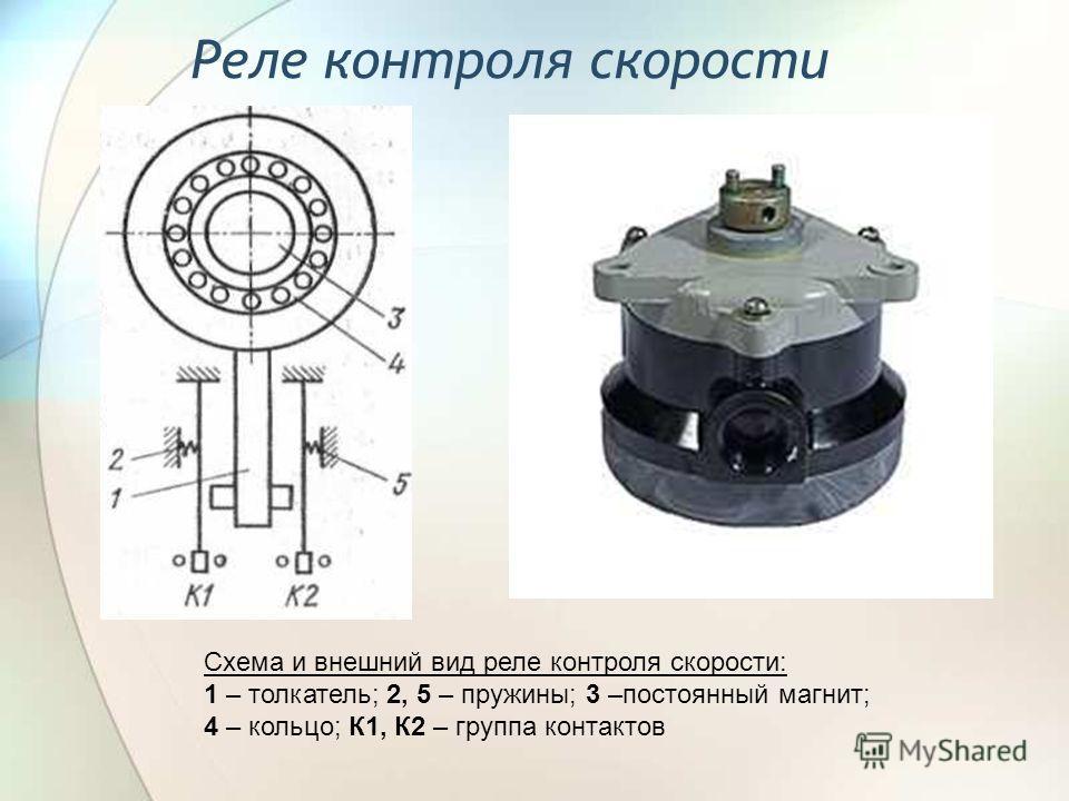 Реле контроля скорости Схема и внешний вид реле контроля скорости: 1 – толкатель; 2, 5 – пружины; 3 –постоянный магнит; 4 – кольцо; К1, К2 – группа контактов