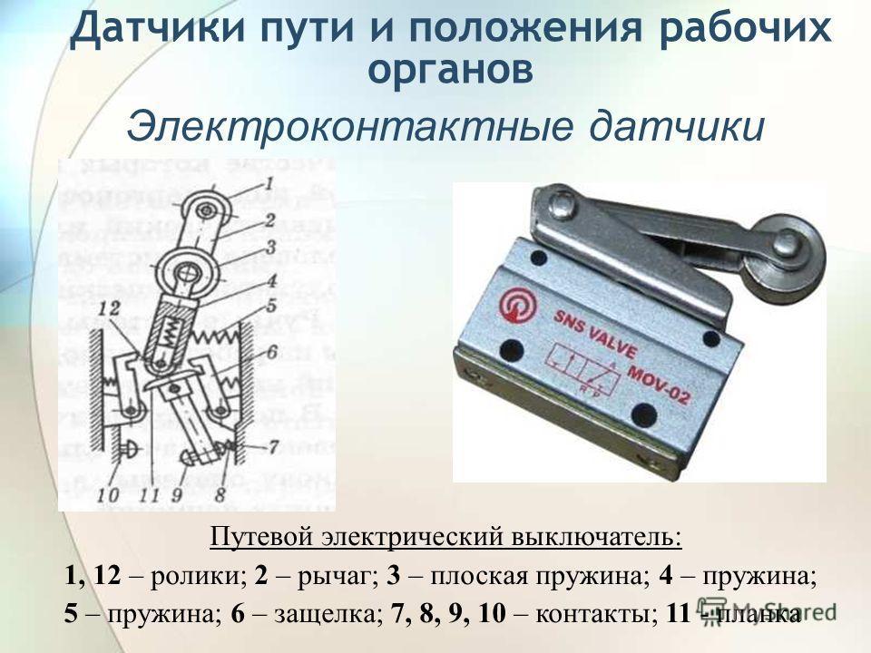 Датчики пути и положения рабочих органов Электроконтактные датчики Путевой электрический выключатель: 1, 12 – ролики; 2 – рычаг; 3 – плоская пружина; 4 – пружина; 5 – пружина; 6 – защелка; 7, 8, 9, 10 – контакты; 11 - планка