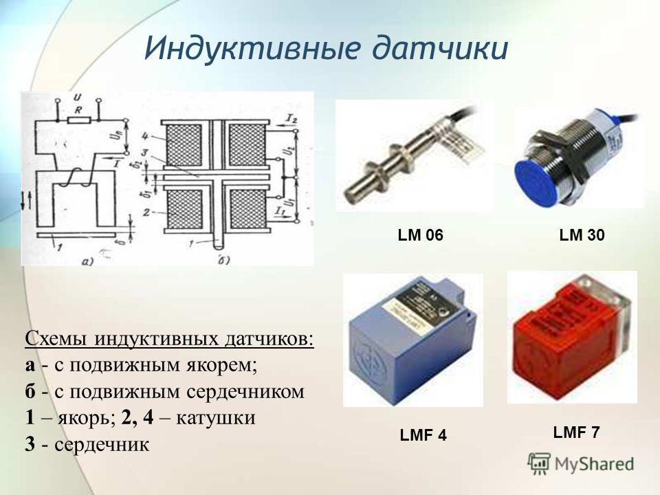 Индуктивные датчики Схемы индуктивных датчиков: а - с подвижным якорем; б - с подвижным сердечником 1 – якорь; 2, 4 – катушки 3 - сердечник LM 06 LMF 7 LM 30 LMF 4