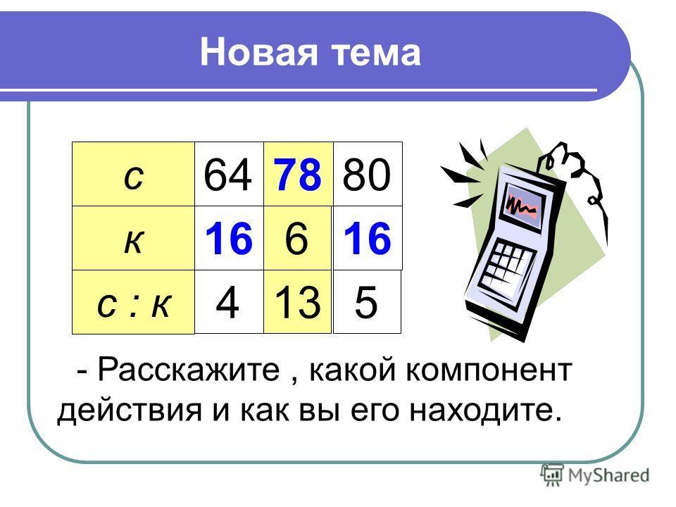 Новая тема с к с : к 64 16 4 78 6 13 80 16 5 - Расскажите, какой компонент действия и как вы его находите.