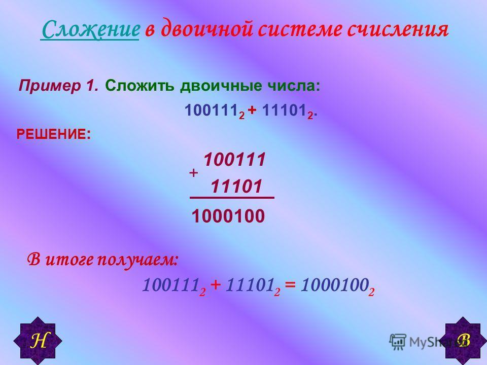 СложениеСложение в двоичной системе счисления Пример 1. Сложить двоичные числа: 100111 2 + 11101 2. РЕШЕНИЕ : 100111 11101 + 1000100 В итоге получаем: 100111 2 + 11101 2 = 1000100 2 В Н