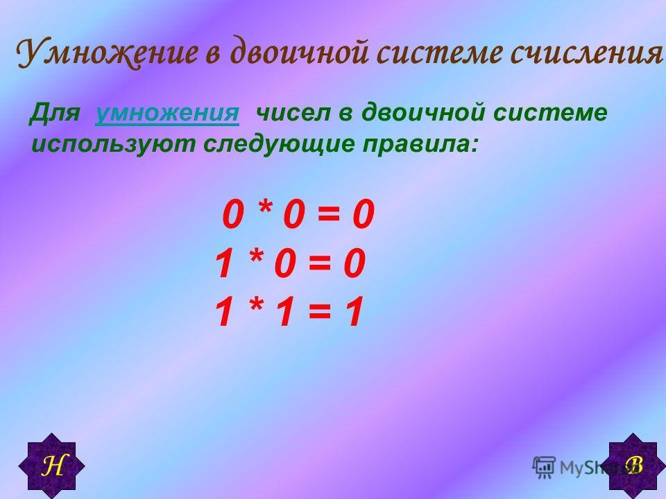 Умножение в двоичной системе счисления Для умножения чисел в двоичной системе используют следующие правила:умножения 0 * 0 = 0 1 * 0 = 0 1 * 1 = 1 В Н