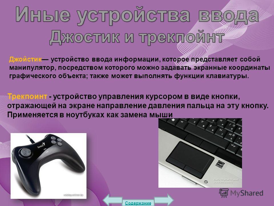 Джойстик устройство ввода информации, которое представляет собой манипулятор, посредством которого можно задавать экранные координаты графического объекта; также может выполнять функции клавиатуры. Трекпоинт - устройство управления курсором в виде кн