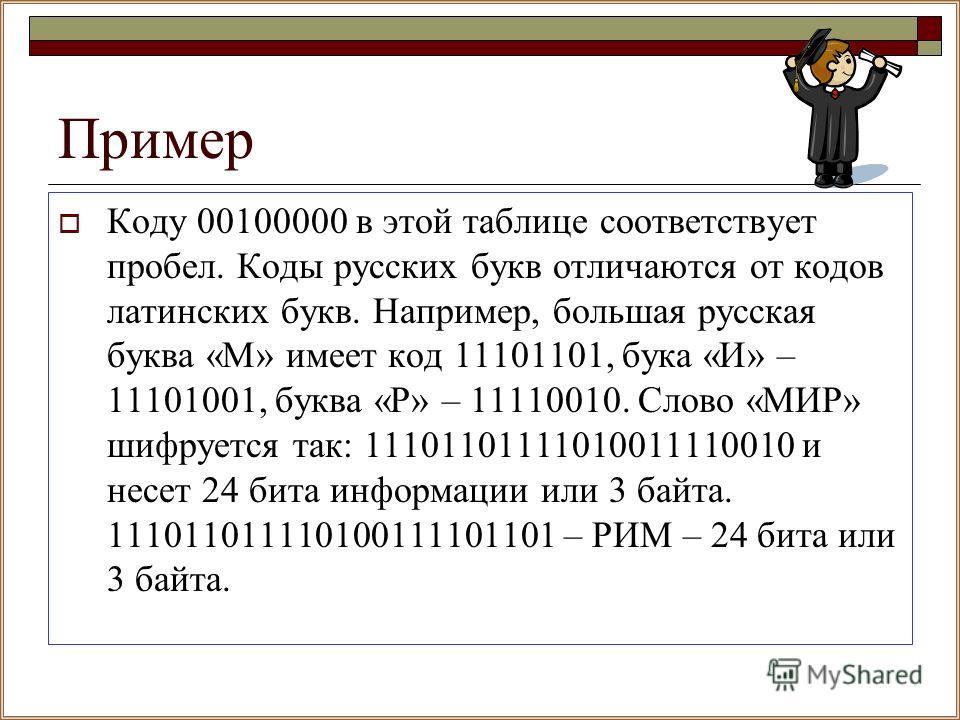 Пример Коду 00100000 в этой таблице соответствует пробел. Коды русских букв отличаются от кодов латинских букв. Например, большая русская буква «М» имеет код 11101101, бука «И» – 11101001, буква «Р» – 11110010. Слово «МИР» шифруется так: 111011011110