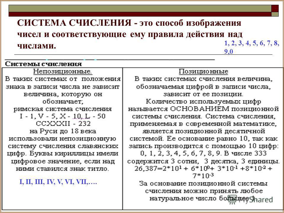СИСТЕМА СЧИСЛЕНИЯ - это способ изображения чисел и соответствующие ему правила действия над числами. I, II, III, IV, V, VI, VII,…. 1, 2, 3, 4, 5, 6, 7, 8, 9,0