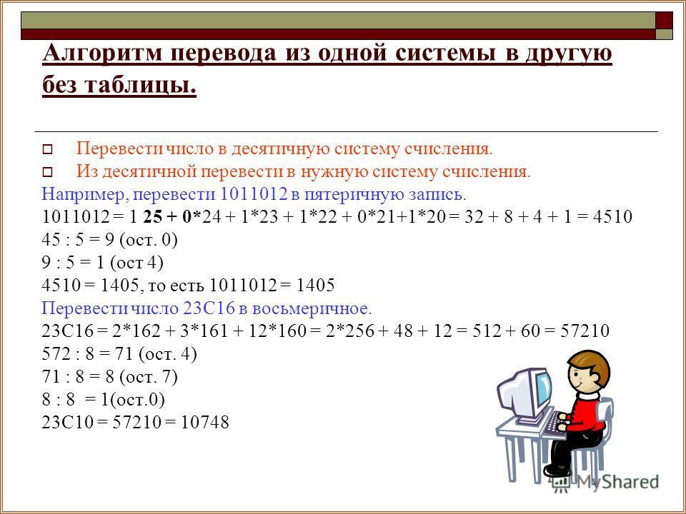 Алгоритм перевода из одной системы в другую без таблицы. Перевести число в десятичную систему счисления. Из десятичной перевести в нужную систему счисления. Например, перевести 1011012 в пятеричную запись. 1011012 = 1 25 + 0*24 + 1*23 + 1*22 + 0*21+1