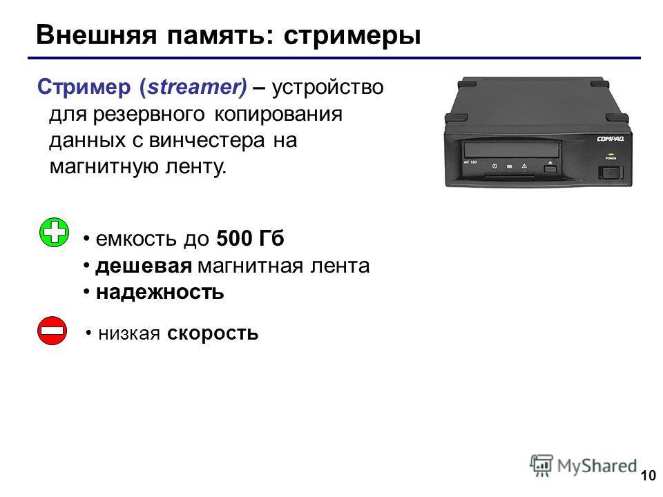 10 Внешняя память: стримеры Стример (streamer) – устройство для резервного копирования данных c винчестера на магнитную ленту. емкость до 500 Гб дешевая магнитная лента надежность низкая скорость