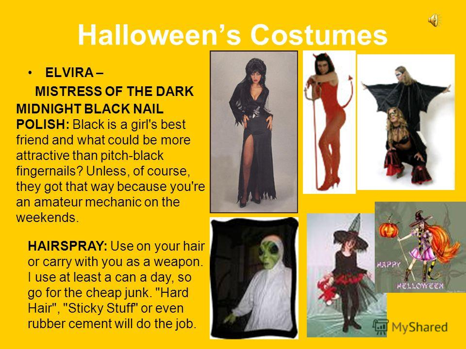 Halloweens Costumes ELVIRA – MISTRESS OF THE DARK MIDNIGHT BLACK NAIL POLISH: Black is a girl's best friend and what could be more attractive than pitch-black fingernails? Unless, of course, they got that way because you're an amateur mechanic on the
