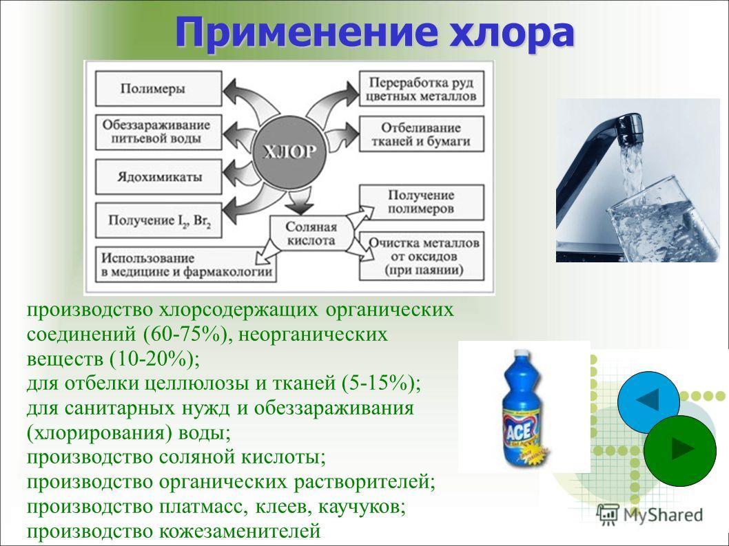 Применение хлора производство хлорсодержащих органических соединений (60-75%), неорганических веществ (10-20%); для отбелки целлюлозы и тканей (5-15%); для санитарных нужд и обеззараживания (хлорирования) воды; производство соляной кислоты; производс