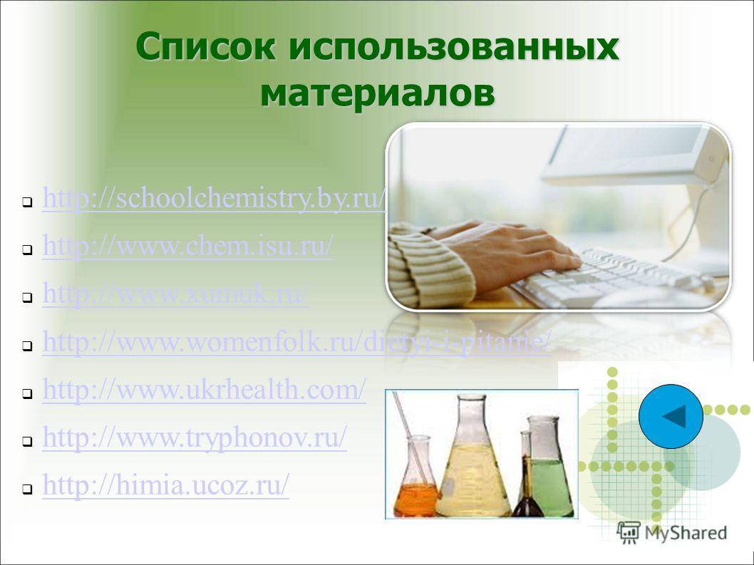 Список использованных материалов http://schoolchemistry.by.ru/ http://www.chem.isu.ru/ http://www.xumuk.ru/ http://www.womenfolk.ru/dietyi-i-pitanie/ http://www.ukrhealth.com/ http://www.tryphonov.ru/ http://himia.ucoz.ru/