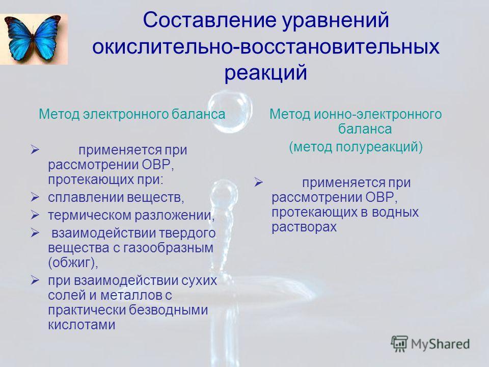 Составление уравнений окислительно-восстановительных реакций Метод электронного баланса применяется при рассмотрении ОВР, протекающих при: сплавлении веществ, термическом разложении, взаимодействии твердого вещества с газообразным (обжиг), при взаимо