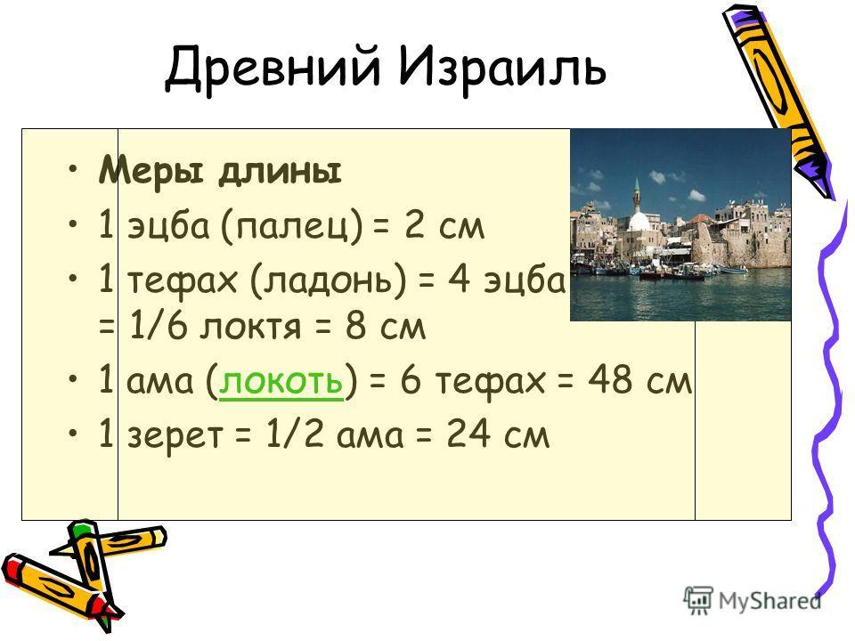 Древний Израиль Меры длины 1 эцба (палец) = 2 см 1 тефах (ладонь) = 4 эцба = 1/6 локтя = 8 см 1 ама (локоть) = 6 тефах = 48 смлокоть 1 зерет = 1/2 ама = 24 см