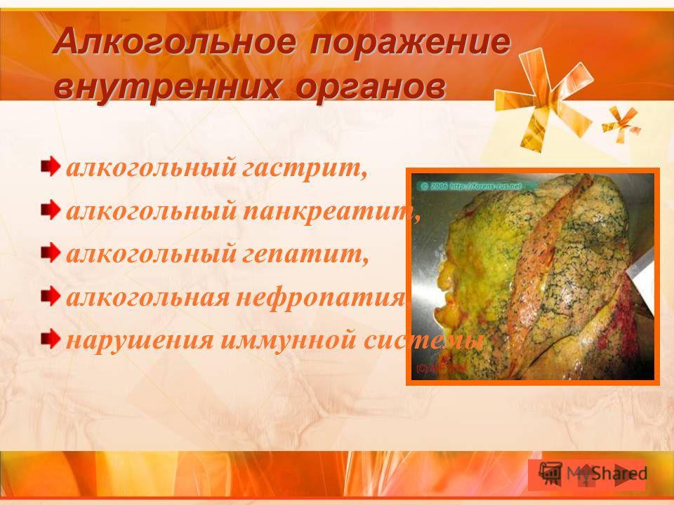 Алкогольное поражение внутренних органов алкогольный гастрит, алкогольный панкреатит, алкогольный гепатит, алкогольная нефропатия, нарушения иммунной системы