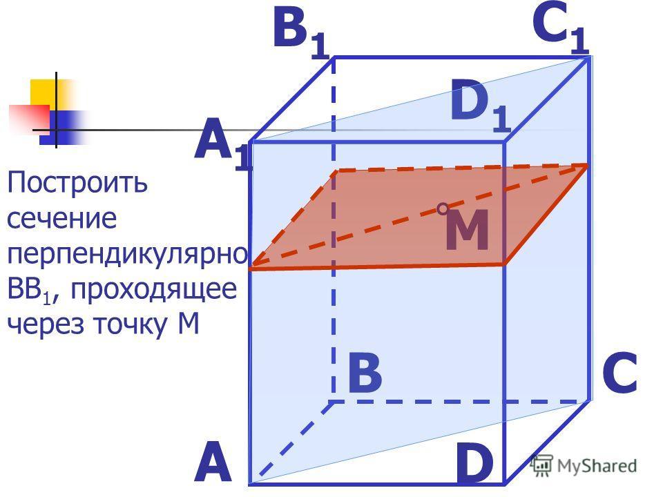M D1D1 C1C1 B1B1 A1A1 D CB A Построить сечение перпендикулярно ВВ 1, проходящее через точку М