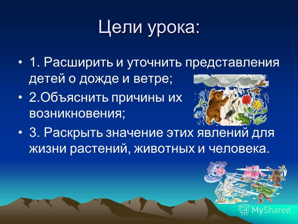Цели урока: 1. Расширить и уточнить представления детей о дожде и ветре; 2.Объяснить причины их возникновения; 3. Раскрыть значение этих явлений для жизни растений, животных и человека.