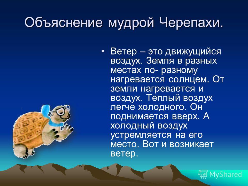 Объяснение мудрой Черепахи. Ветер – это движущийся воздух. Земля в разных местах по- разному нагревается солнцем. От земли нагревается и воздух. Теплый воздух легче холодного. Он поднимается вверх. А холодный воздух устремляется на его место. Вот и в