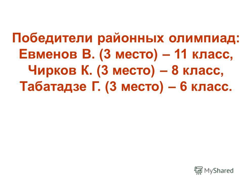 Победители районных олимпиад: Евменов В. (3 место) – 11 класс, Чирков К. (3 место) – 8 класс, Табатадзе Г. (3 место) – 6 класс.