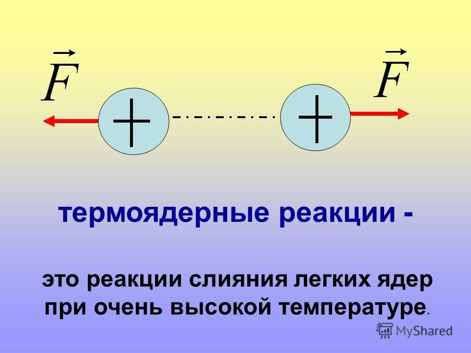 это реакции слияния легких ядер при очень высокой температуре. термоядерные реакции -