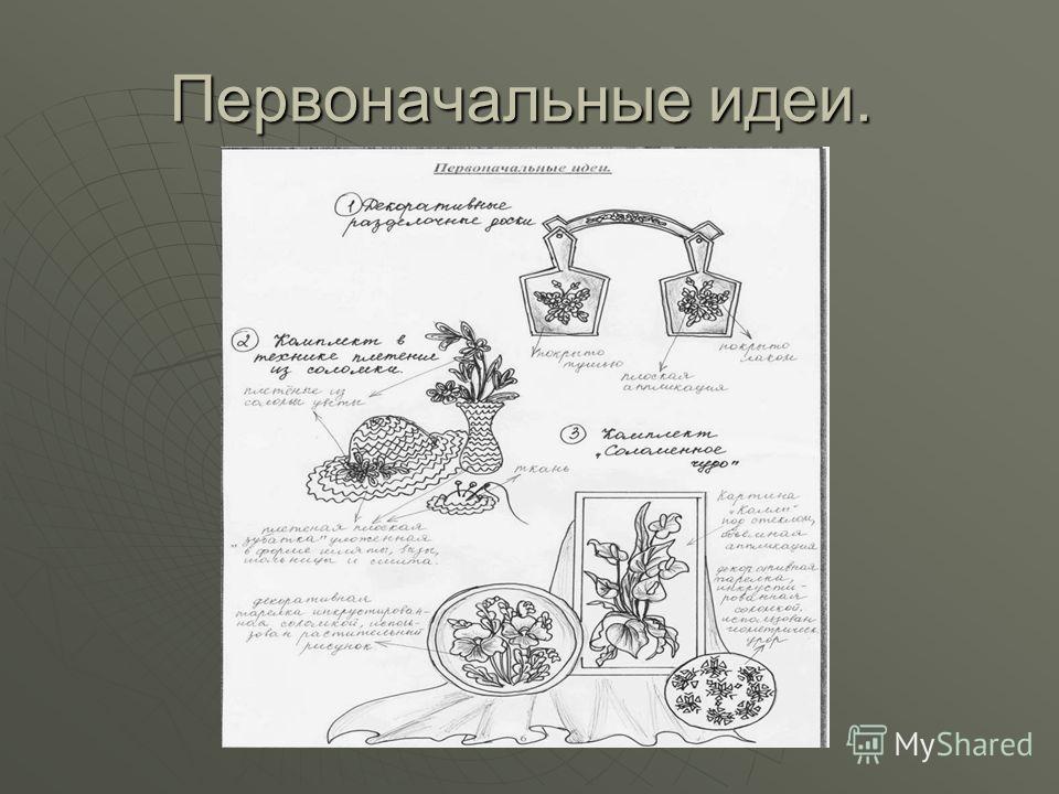 Дизайн – спецификация. Дизайн – спецификация. Композиция «Соломенное чудо» состоит из картины и двух декоративных тарелок. Предназначена в качестве украшения интерьера, подарка, для продажи. Должна соответствовать вкусу потребителя и вписываться в ин