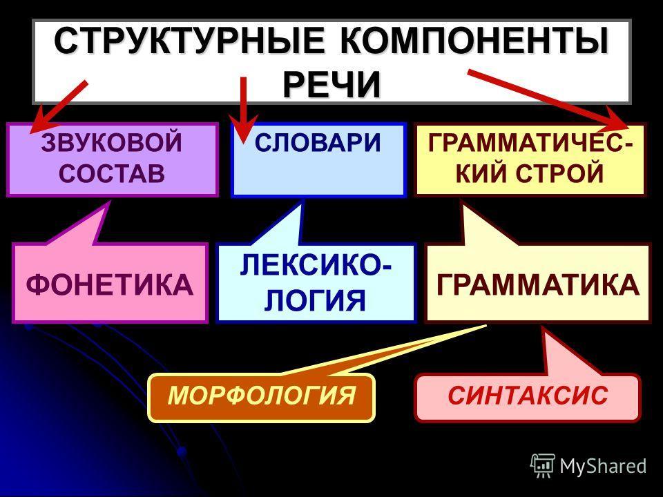 СТРУКТУРНЫЕ КОМПОНЕНТЫ РЕЧИ ЗВУКОВОЙ СОСТАВ СЛОВАРИГРАММАТИЧЕС- КИЙ СТРОЙ ФОНЕТИКА ЛЕКСИКО- ЛОГИЯ ГРАММАТИКА МОРФОЛОГИЯ СИНТАКСИС