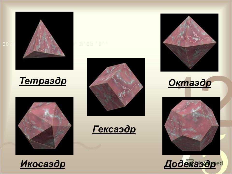 Сделаем вывод: Мы убедились, что существует лишь пять выпуклых правильных многогранников - тетраэдр, октаэдр и икосаэдр с треугольными гранями, куб (гексаэдр) с квадратными гранями и додекаэдр с пятиугольными гранями. Эти тела еще называют телами Пла