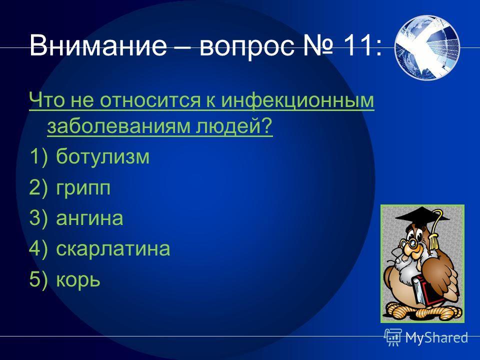 Внимание – вопрос 10: Для создания искусственного иммунитета вводят 1) антибиотики 2) вакцины 3) сыворотки
