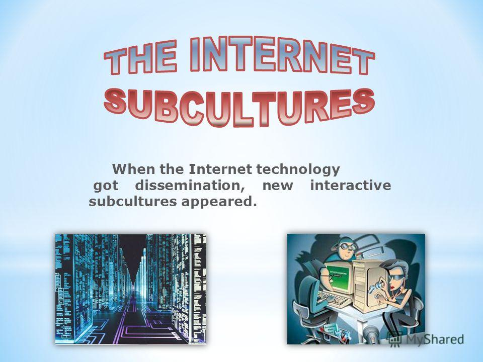 When the Internet technology got dissemination, new interactive subcultures appeared.