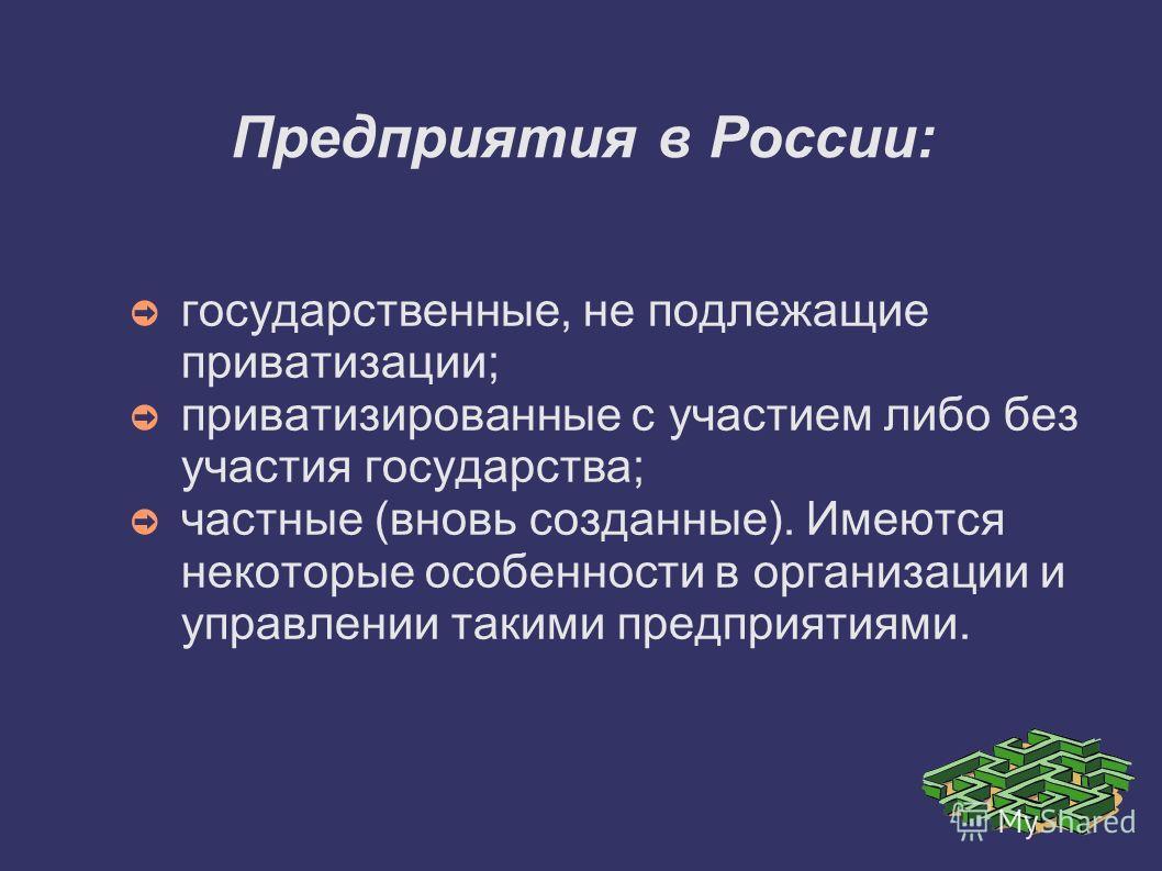 Предприятия в России: государственные, не подлежащие приватизации; приватизированные с участием либо без участия государства; частные (вновь созданные). Имеются некоторые особенности в организации и управлении такими предприятиями.
