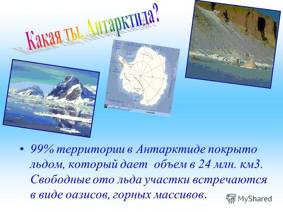 99% территории в Антарктиде покрыто льдом, который дает объем в 24 млн. км3. Свободные ото льда участки встречаются в виде оазисов, горных массивов.