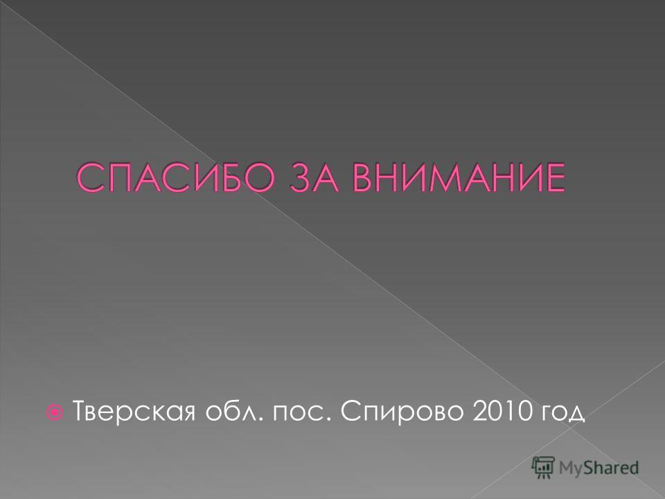 Тверская обл. пос. Спирово 2010 год