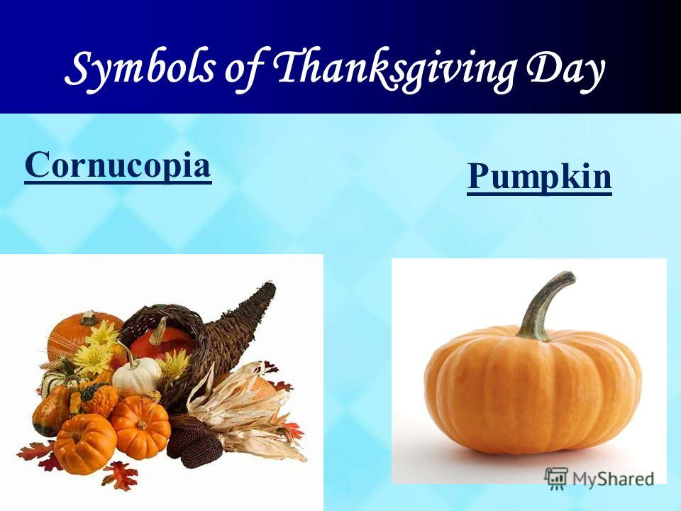 Symbols of Thanksgiving Day Pumpkin Cornucopia