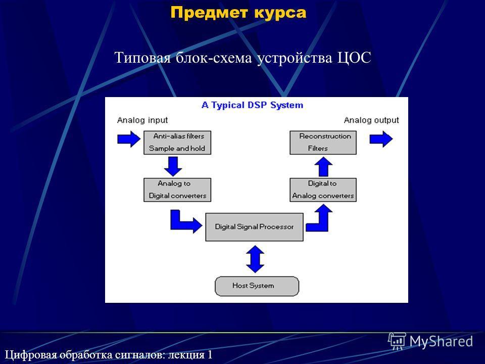 Предмет курса Типовая блок-схема устройства ЦОС Цифровая обработка сигналов: лекция 1