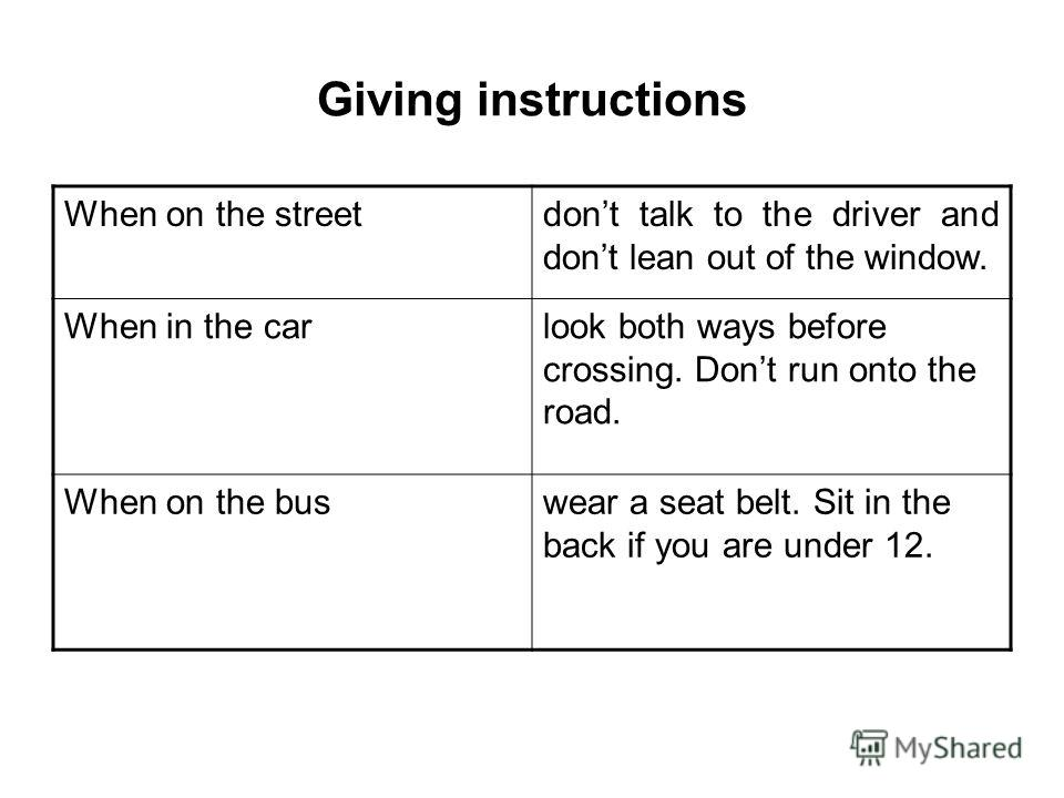 Giving instructions When on the streetdont talk to the driver and dont lean out of the window. When in the carlook both ways before crossing. Dont run onto the road. When on the buswear a seat belt. Sit in the back if you are under 12.