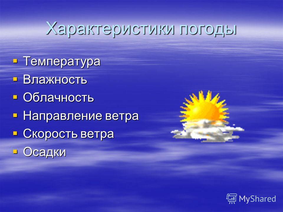 Характеристики погоды Температура Температура Влажность Влажность Облачность Облачность Направление ветра Направление ветра Скорость ветра Скорость ветра Осадки Осадки
