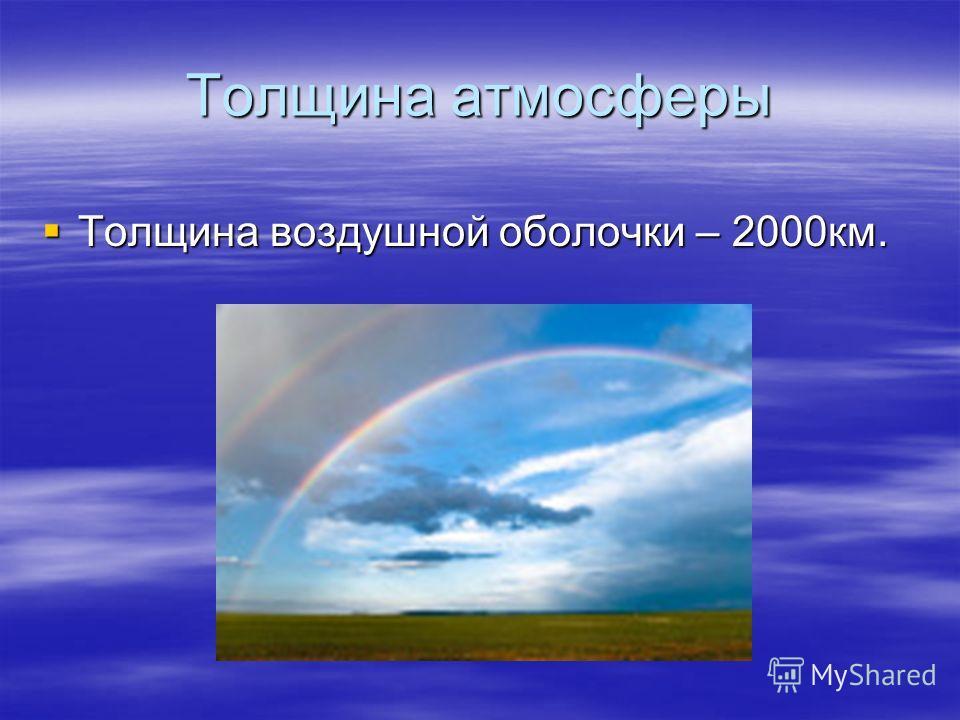Толщина атмосферы Толщина воздушной оболочки – 2000км. Толщина воздушной оболочки – 2000км.