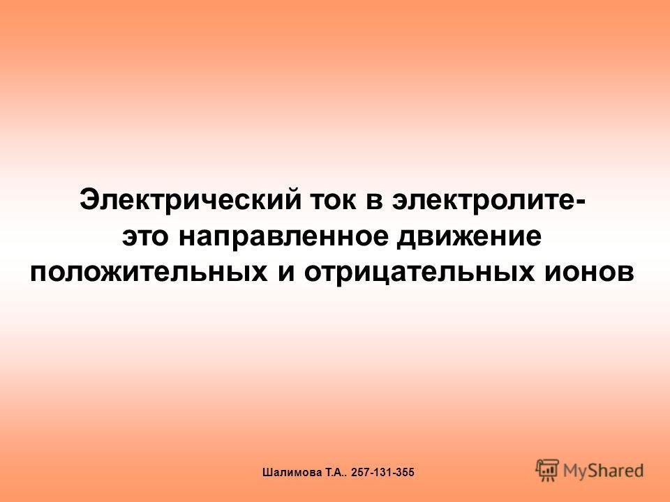Электрический ток в электролите- это направленное движение положительных и отрицательных ионов Шалимова Т.А.. 257-131-355