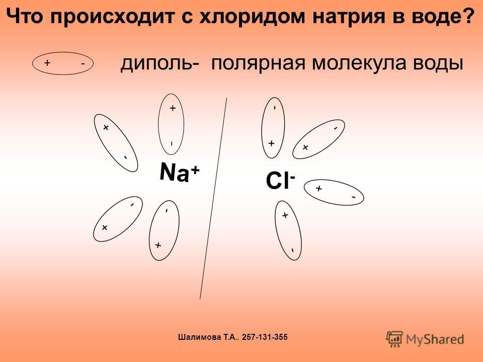 + - диполь- полярная молекула воды + - Cl - + - Na + + - Что происходит с хлоридом натрия в воде? Шалимова Т.А.. 257-131-355