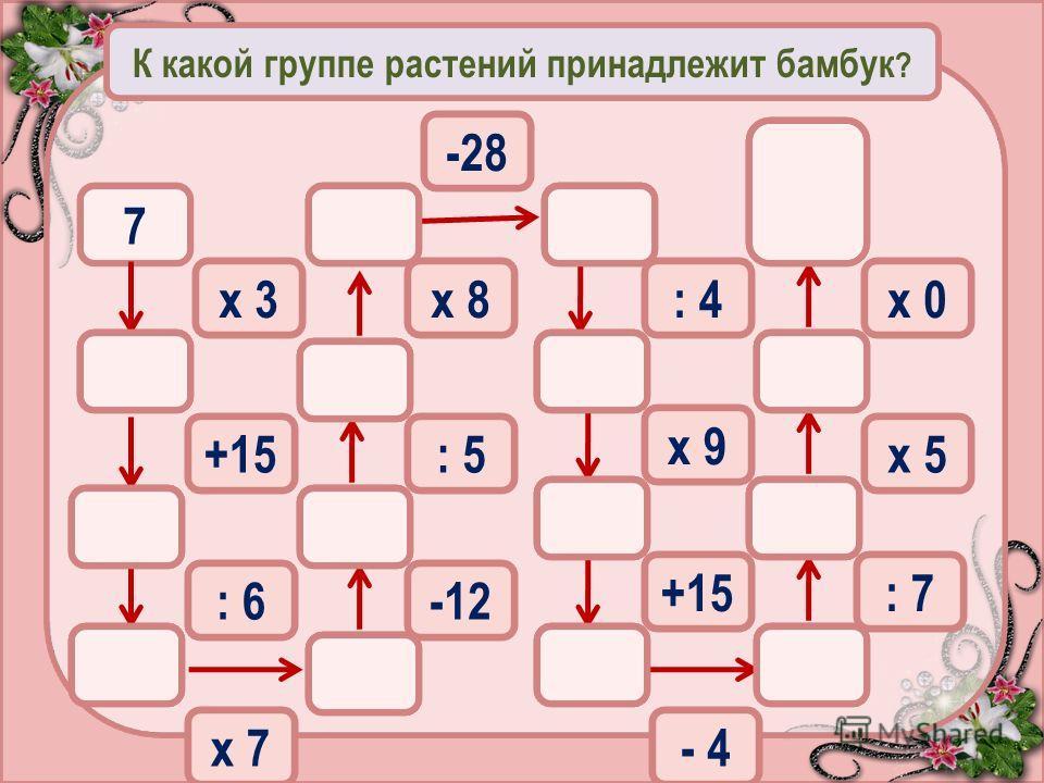 К какой группе растений принадлежит бамбук ? 7 х 3 36 +15 21 6 : 6 42 30 6 4820 : 5 -12 х 7 5 45 6056 : 4 -28 х 8 8 40 0 х 9 +15 х 0 - 4 : 7 х 5