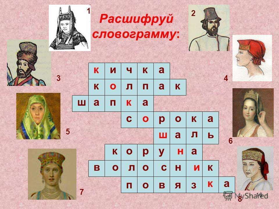 16 Расшифруй словограмму: п кичак колпак шапка сорока ша л ь овяз ка коруа волос н ник 1 2 34 5 6 7 8