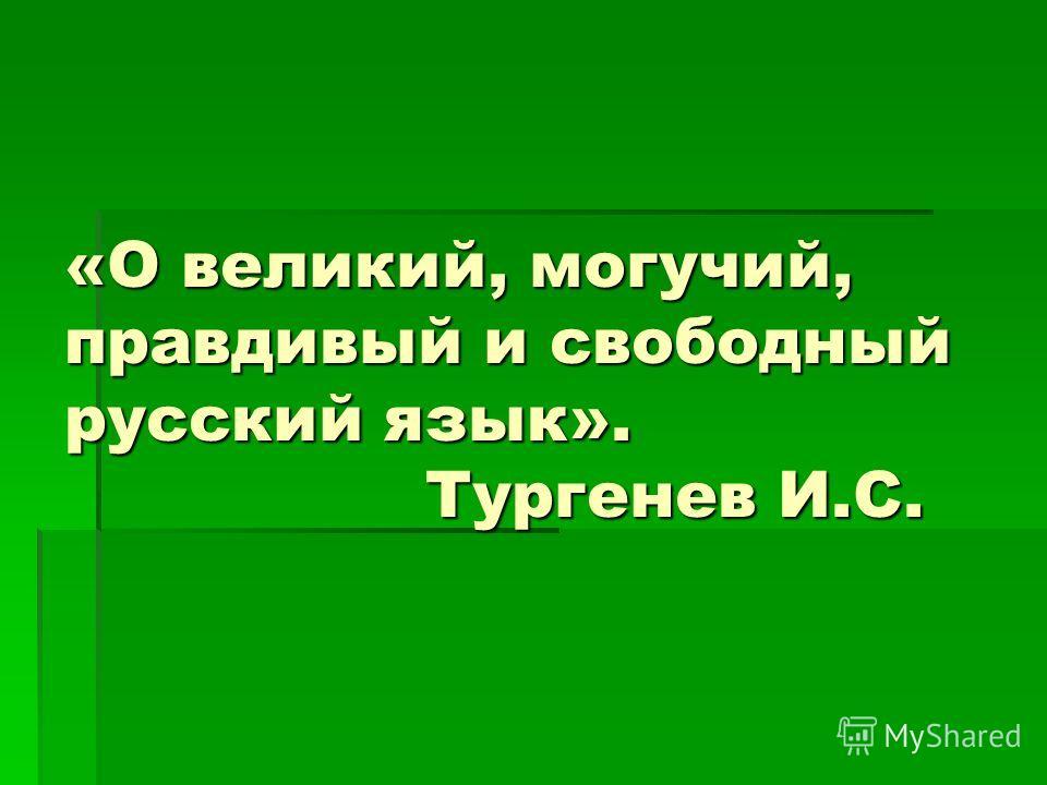 «О великий, могучий, правдивый и свободный русский язык». Тургенев И.С.