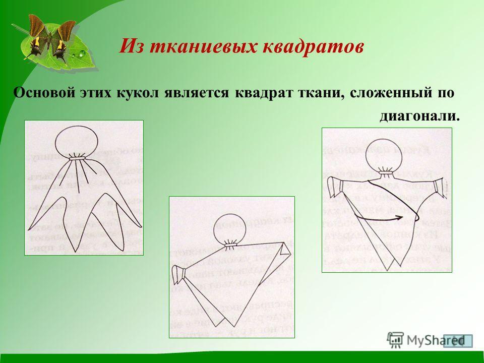 Основой этих кукол является квадрат ткани, сложенный по диагонали. Из тканиевых квадратов
