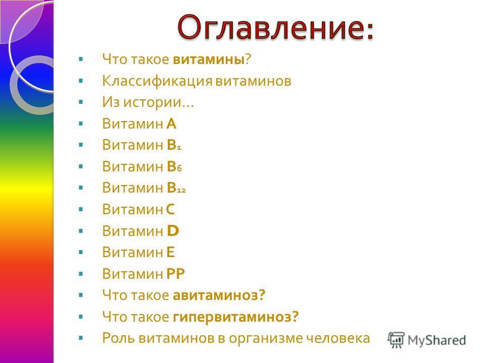 Что такое витамины ? Классификация витаминов Из истории … Витамин А Витамин В 1 Витамин В 6 Витамин В 12 Витамин С Витамин D Витамин Е Витамин РР Что такое авитаминоз ? Что такое гипервитаминоз ? Роль витаминов в организме человека