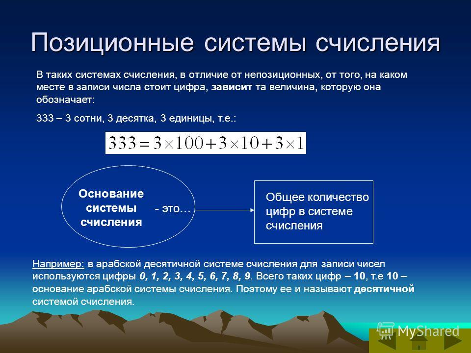 Позиционные системы счисления В таких системах счисления, в отличие от непозиционных, от того, на каком месте в записи числа стоит цифра, зависит та величина, которую она обозначает: 333 – 3 сотни, 3 десятка, 3 единицы, т.е.: Основание системы счисле