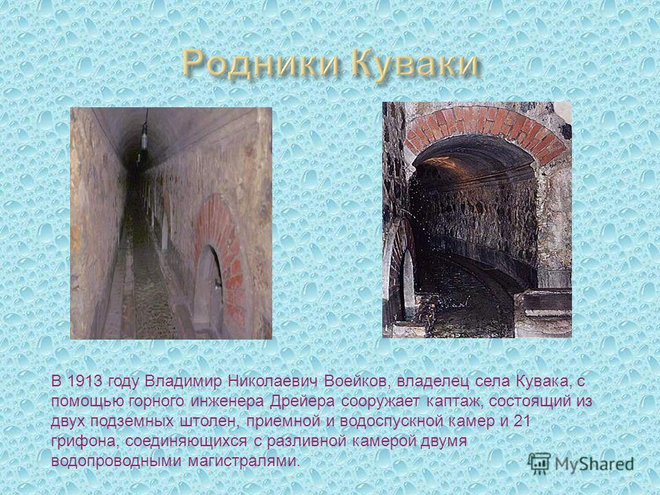В 1913 году Владимир Николаевич Воейков, владелец села Кувака, с помощью горного инженера Дрейера сооружает каптаж, состоящий из двух подземных штолен, приемной и водоспускной камер и 21 грифона, соединяющихся с разливной камерой двумя водопроводными