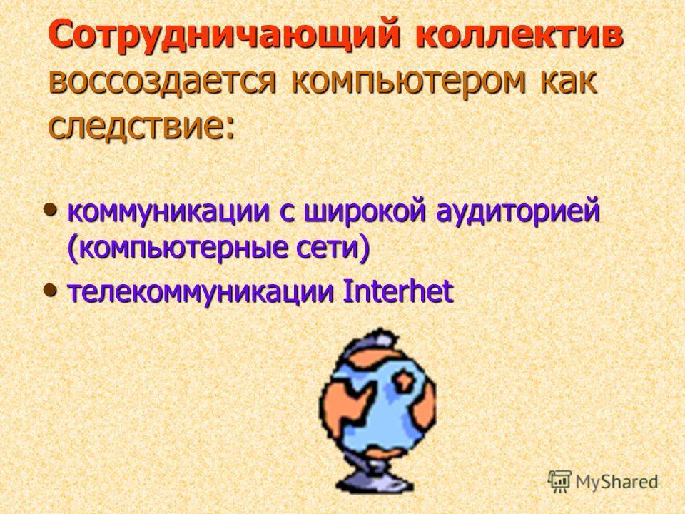 Сотрудничающий коллектив воссоздается компьютером как следствие: коммуникации с широкой аудиторией (компьютерные сети) коммуникации с широкой аудиторией (компьютерные сети) телекоммуникации Interhet телекоммуникации Interhet