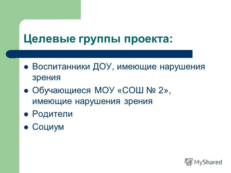 Целевые группы проекта: Воспитанники ДОУ, имеющие нарушения зрения Обучающиеся МОУ «СОШ 2», имеющие нарушения зрения Родители Социум
