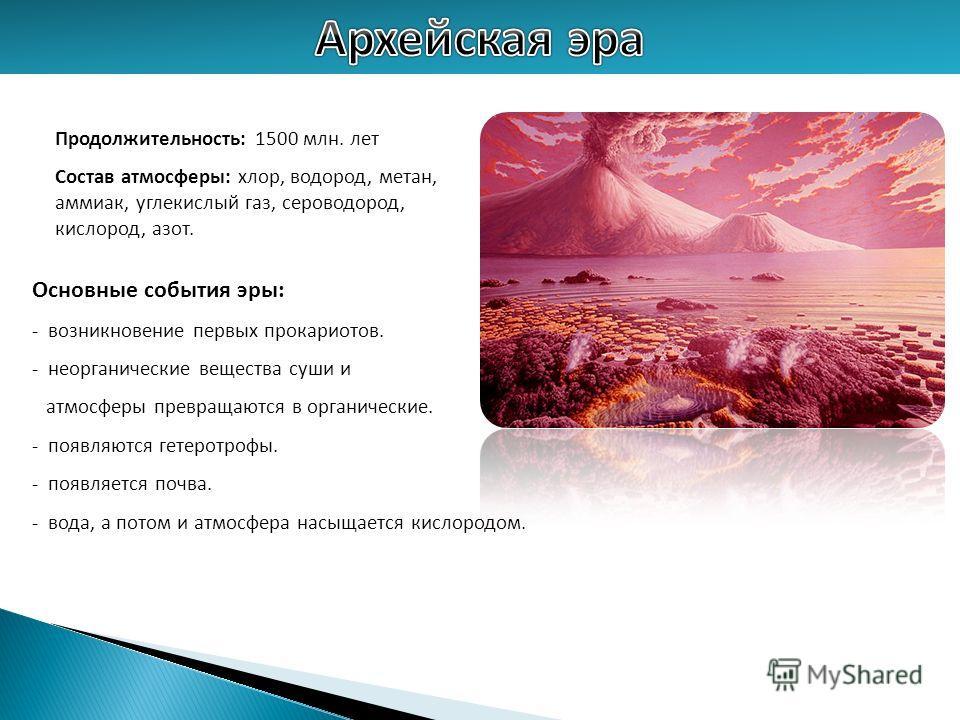 Продолжительность: 1500 млн. лет Состав атмосферы: хлор, водород, метан, аммиак, углекислый газ, сероводород, кислород, азот. Основные события эры: - возникновение первых прокариотов. - неорганические вещества суши и атмосферы превращаются в органиче
