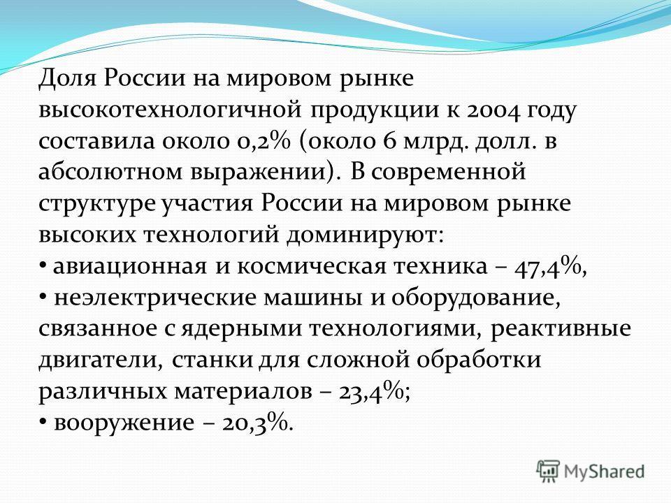 Доля России на мировом рынке высокотехнологичной продукции к 2004 году составила около 0,2% (около 6 млрд. долл. в абсолютном выражении). В современной структуре участия России на мировом рынке высоких технологий доминируют: авиационная и космическая