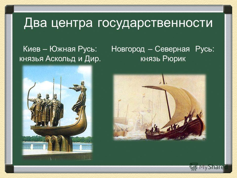 Два центра государственности Киев – Южная Русь: князья Аскольд и Дир. Новгород – Северная Русь: князь Рюрик